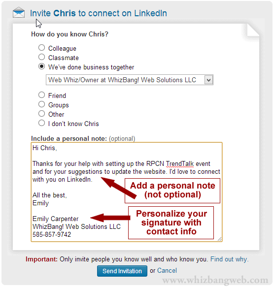 9 tips to get your linkedin invites accepted whizbang web 9 tips to get your linkedin invites accepted stopboris Images